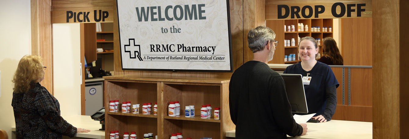customers picking up prescriptions at RRMC pharmacy