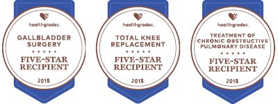 three awards from healthgrades