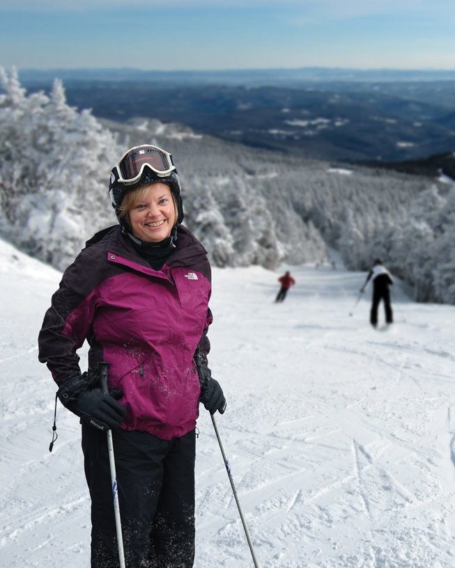 liz morton on ski mountain