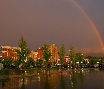 Rainbow over downtown Rutland, VT